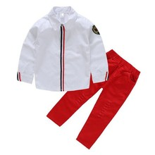 Spring Summer Baby Boys Clothing Set England Blouse + Ripped Jeans 2 Pieces Set Quality Blouses Pants Kids White Shirt KD278