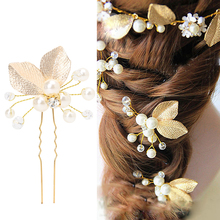 Women's Hair Clip Leaf Rhinestone Faux Pearls Hairpin Bridal Bobby Pin Jewelry(China)
