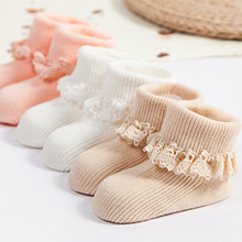 Lace Flower Baby Socks Solid Color Girls Princess Cotton Anti Slip Soft Socks For New Born Baby Infant 0-4 Years(China)