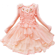 Fashion designer kids wear lace flower cotton girls dresses age 9 with long sleeves