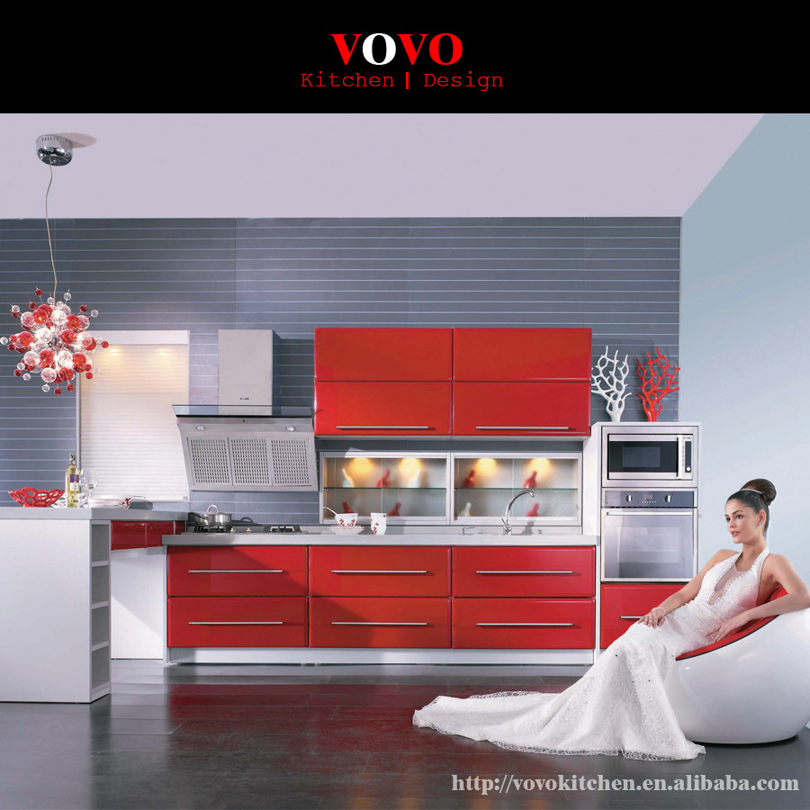 Luxury red high gloss L shaped plywood kitchen cabinet(China (Mainland))