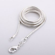 C010 2mm Factory Price Free Shipping Silver Color 2mm Snake Necklace Chain Fashion Jewelry Chains