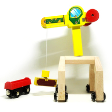 p002 magnetic mobile cranes and cargo compartments Thomas compatible wooden track rail cars and applies a magnetic alloy car(China)