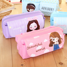 Kawaii Cartoon Girls Folding Multifunction School Supplies Pencil Case Cute Stationery Pen Bag Pouch Box Pencilcase For Girls(China)