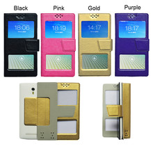Double window Universal Flip PU Leather Case Cover For Prestigio Grace Q5 Phone In Stock N3