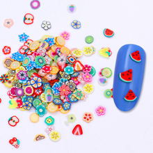 Colorful Nail Beads Fruit Flower Fimo Watermelon Apple Strawberry Lemon Manicure 3D Nail Art Decoration Accessory 1 Bag(China)
