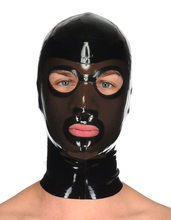 Buy Handmade Latex Hood contrasting face panel Back Zip Latex Masks Unisex Latex Rubber Hood Mask