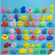 Baby Bath Toys Mixed Colorful Animal Bath Set Soft Rubber Float Squeeze Sound Squeaky Swimming Pool Float Vinyl Toys Yellow Duck(China)