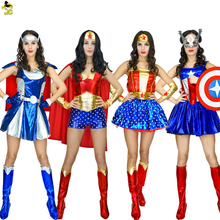 2017 Adult Supergirl Costume Woman Superhero Cosplay Thor Amercian Captain Avengers Superman Costumes Girls Party Gown Clothes
