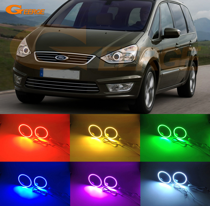 For Ford Galaxy 2006-2014 Xenon headlight Excellent Multi-Color Ultra bright 7 Colors RGB LED Angel Eyes kit Halo Ring<br>
