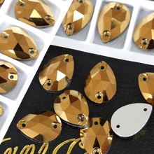 Wholesale 60pcs/box 17x28mm High-grade Teardrop Sew On Rhinestones Gold Hematite Color Droplet Sewing Glass Crystals