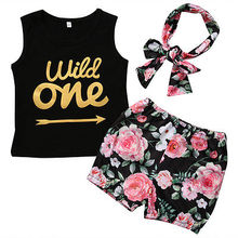 Summer Kids Baby Set Clothing Toddler Infant Baby Girl Outfits Wild One Letter Clothes Vest Floral Shorts+Headband 3pcs Set 0-4T