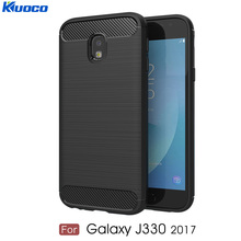 For Samsung Galaxy J3 2017 Back Cover for J330 Europe Version Soft Silicone Carbon Fiber Design Shockproof TPU Bumper Phone Case