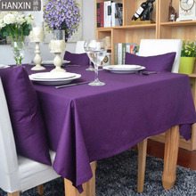Solid Color Series 90% Cotton Coffee Table Cloth Purple/Brown/Red Tablecloth Dining Rectangle Table Cover 5 Colors Available(China)