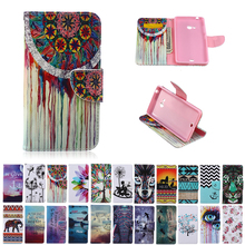 For Microsoft Nokia Lumia 540 N540 Case Duplex Painting TPU Back Box Card Slot Wallet Stand Magnetic Flip Phone Leather Case