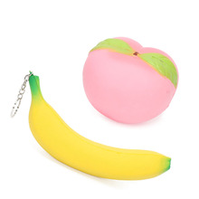 Cute Jumbo Kawaii Slow Rising Squishy Banana Strawberry Pink Peach Keychain Decompression Toys Cell Phone Charms Pendants Straps