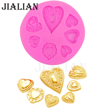 Love gem Valentine's Day chocolate wedding cake decorating tools DIY Heart baking fondant form Fimo  silicone mold T0325