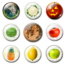 Garden of Paradise 30MM Fridge Magnet Fairy Tale Apple Pumpkin Fruits Glass Cabochon Refrigerator Sticker Note Holder Home Decor