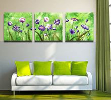 3 Panel Triple Painting Abstract Floral Wall Art Canvas Oil Painting Printed Green Color Art Picture Modern House Decor No Frame