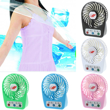 Portable Handheld LED Fan Rechargeable Air Cooler Mini Desk USB Battery 3 Speed
