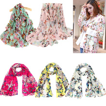 New Fashion Summer Scarves Women Lady Chiffon Butterfly Print Neck Shawl Scarf Scarves Wrap Stole