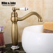 Ceramic bathroom antique basin faucet vintage kitchen sink tap brass tap torneira banheiro basin mixer water small faucet(China)