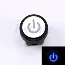 Power Symbol Momentary Latching Computer Case Switch Push Button Blue Light Led
