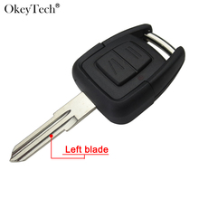 Okeytech Remote Case With HU46 Left Uncut Blank Blade Car Key 2 Buttons Fob Cover Shell Case For Opel Astra Vectra Zafira Omega(China)