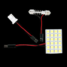 High Quality Super Bright T10 W5W C5W Festoon 2 Adapter 24 SMD 5050 LED Auto Panel Light Reading Bulb Car Interior Map Lamp 12V