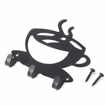 Coffee Wall Mount Metal 3 Hook Key Hanger Rack Decorative Holder Wall Hook For Kitchen Organizer Bathroom