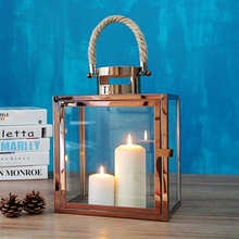 Modern Hemp rope Portable candlestick Hurricane lamp gold candelabra candle lantern candle holders wedding centerpieces
