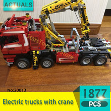 Lepin 20013 1877Pcs Technic series Electric trucks with crane Model Building Blocks Set  Bricks Toys For Children  Gift