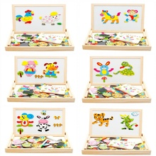Kids Baby Wooden Learning Geometry Educational Toys Animal Drawing Writing Board Magnetic Puzzle Double Easel Sketchpad Toy(China)