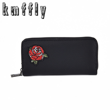 KMFFLY Women Wallets flower a bird Female Bag Ladies pu Leather Slim Wallets Money Coin Women Clutch Long Walet Carteras Mujer