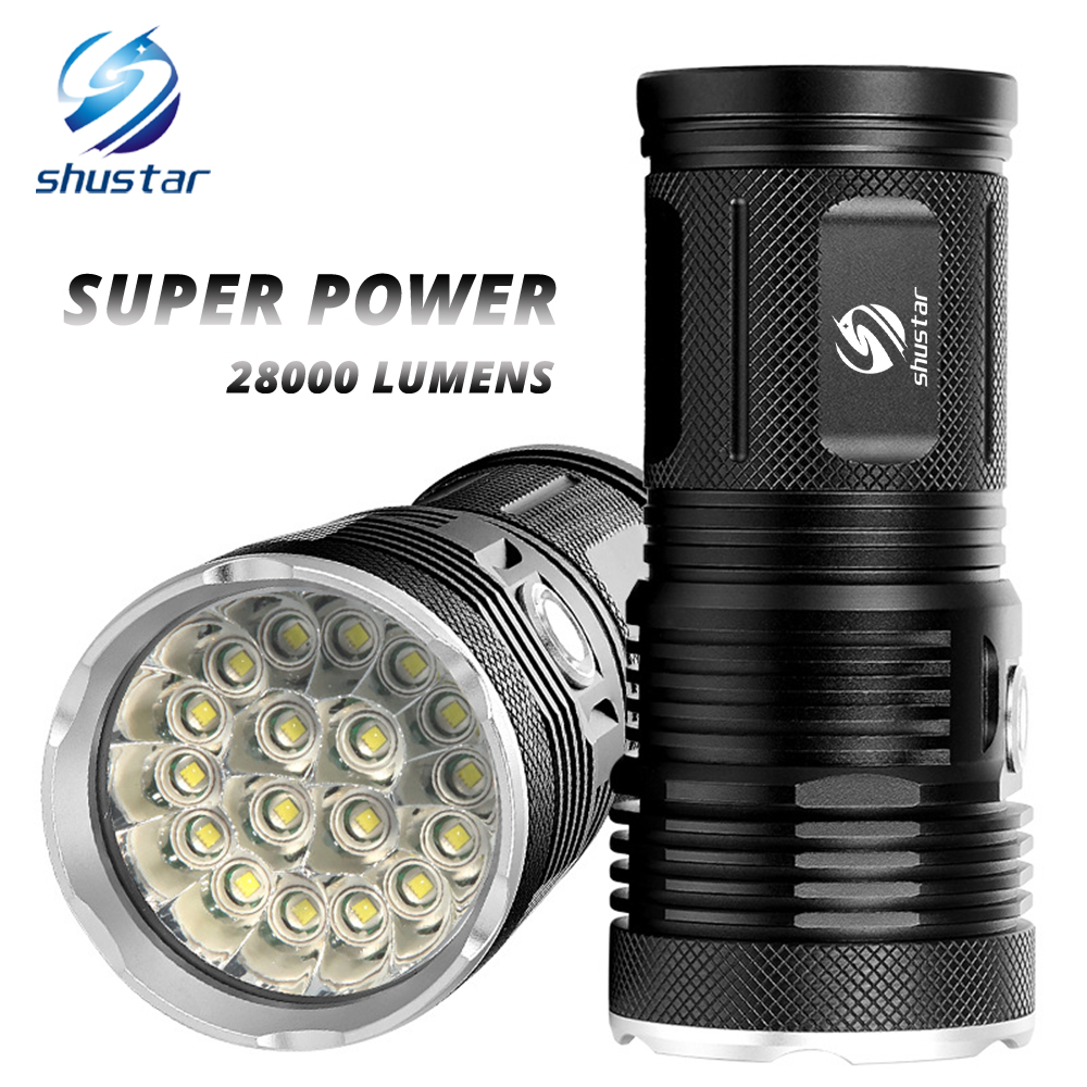 Powerful LED Flashlight with 18 x T6 LED Lamp bead waterproof searchlight Wide range Use 4 x 18650 battery of lighting