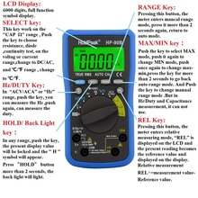 Solar Charge with USB True RMS Digital Multimeter Auto Range Max/Min and Battery Tester with Temperature Unit Select 90bs