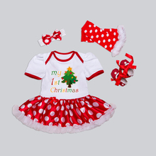 Newborn Christmas Clothes Baby Girls Clothing Set My First Christmas Baby Clothes Set Ruffle Tutu Dress New Born Baby Clothing(China)