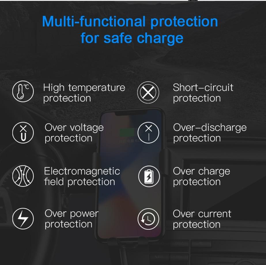 Baseus Car Mount Qi Wireless Charger شاحن سيارة لاسلكي سريع 12