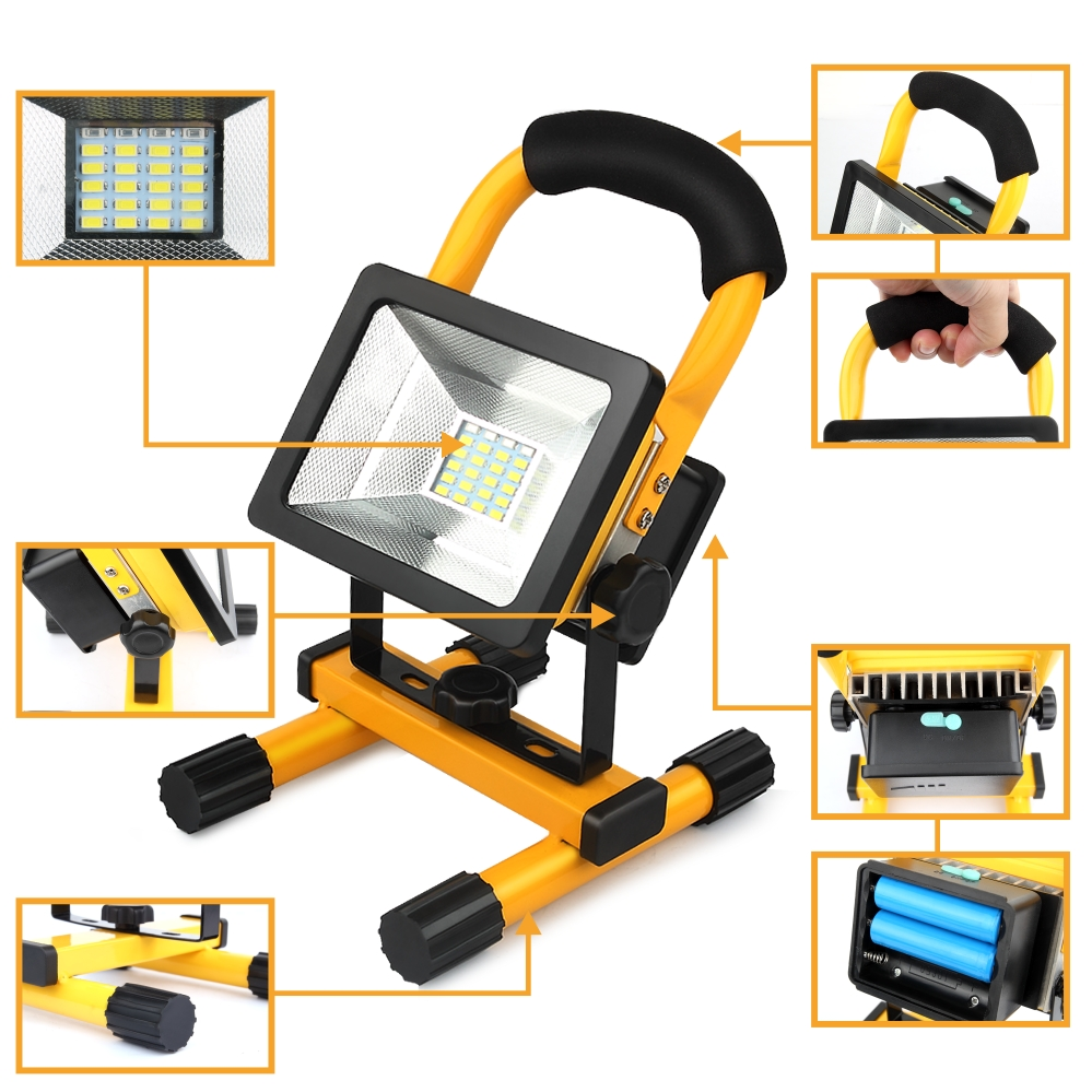 UniqueFire CREE Led Light 18650 Light 30W IP65 Waterproof Outdoor Led Rechargeable Flood Light(R/BW)Travel Work Lamp<br><br>Aliexpress