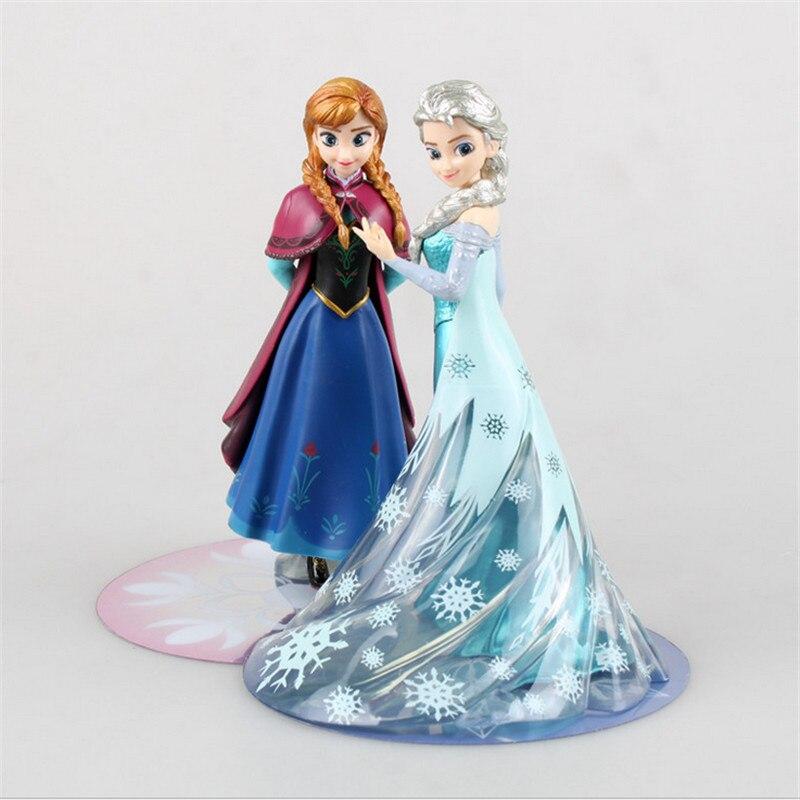 14.5cm PVC Princess Elsa Anna Action Figure Toys,  Cartoon  Elsa Anna Figure Model, Anime Brinquedos, Kids Toy Doll <br><br>Aliexpress