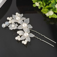 MJARTORIA 1PC Bridal Hairdisk Flower Shape Hairpin Wedding Decorations Accessories Lovely Pearl Women Ladies Hair Jewelry 10x6cm(China)
