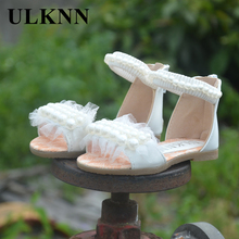 2017 New  Fashion  Beading Leather Sandals Kids Flats Single Shoe Children Zipper  Outdoor Comfordtable Princess Shoes For Girls