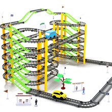 155pcs DIY Assemb Slots Off-road Vehicle 3D Electric Rail Car Racing Road Kit Spiral Track Roller Coaster Child Small Train Set