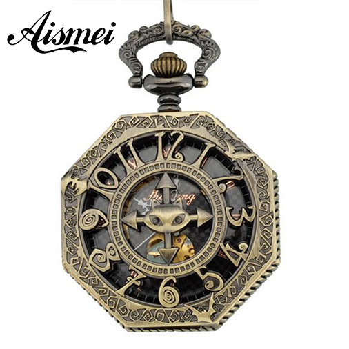 New Steampunk Personalized Octagonal Bronze Steel Skeleton Pocket Watch Arabic Roman Number Reloj De Bolsillo Men Lady FOB Watch<br><br>Aliexpress