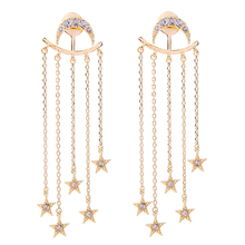 Fashion Trends Crystal Star Moon Earrings Brand Jewelry Perfume Women Long Convertible Earrings(China)