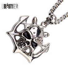 UBEAUTY 2017 new arrival Alloy skull man necklace High polished punk Chain necklace free shipoing men jewelry(China)