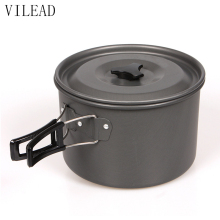 VILEAD Large Outdoor Cooking Pot Portable Outdoor Tableware for 3-4 Person 19.5*13cm Camping Pot Utensil for Hiking Picnic BBQ