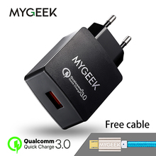 MyGeek USB Charger Qualcomm Quick Charge 3.0 Fast Mobile Phone Charger( 2.0 Compatible) for Samsung Huawei LG Xiaomi(China)