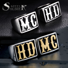 steel soldier men punk MC HD biker ring stainless steel movie style jewelry titanium steel unique jewelry