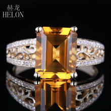 HELON Soild 14K Yellow Gold 10x8mm Emerald 1.77ct Natural Citrine Pave 0.2ct Diamonds Engagement Wedding Lady Jewellery Ring